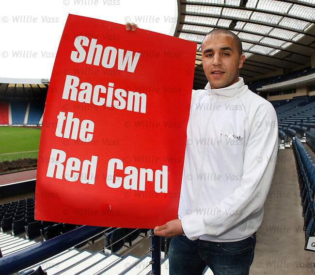 Madjid Bougherra at Hampden for an anti-racism message