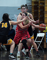 Canterbury's Shea Crotty passes during the 2018 Women's Basketball League match between Canterbury Wildcats and Taranaki Thunder at Cowles Stadium in Christchurch, New Zealand on Sunday, 24 June 2018. Photo: Dave Lintott / lintottphoto.co.nz