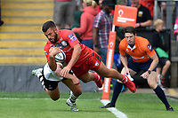 Gareth Evans of Gloucester Rugby looks to score a but it's soon ruled out for a foot in touch. Premiership Rugby 7s (Day 2) on July 28, 2018 at Franklin's Gardens in Northampton, England. Photo by: Patrick Khachfe / Onside Images