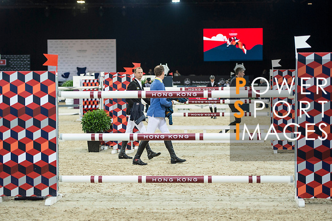 Walk the course before the EEM Trophy competition during the Longines Masters of Hong Kong on 10 February 2017 at the Asia World Expo in Hong Kong, China. Photo by Marcio Rodrigo Machado / Power Sport Images