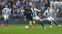 Manchester City's Nicolas Otamendi and Brighton & Hove Albion's Glenn Murray<br /> <br /> Photographer Rob Newell/CameraSport<br /> <br /> Emirates FA Cup Semi-Final - Manchester City v Brighton & Hove Allbion - Saturday 6th April 2019 - Wembley Stadium - London<br />  <br /> World Copyright © 2019 CameraSport. All rights reserved. 43 Linden Ave. Countesthorpe. Leicester. England. LE8 5PG - Tel: +44 (0) 116 277 4147 - admin@camerasport.com - www.camerasport.com