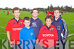 RED ARMY: Member's of Tralee RFC supporting Munster at O'Dowd Park, Tralee .on Saturday l-r: Seamus Harty, Stephen Cunnane, Tadhg Hurley, John Kelliher .and Niall Hurley.