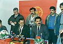 Lebanon 1992 <br /> In Bekaa, with the PKK, Jalal Talabani and Mullazem Omar Mustafa  ina press conference with Abdalla Ocalan  <br /> Liban 1992 <br /> Dans la Bekaa, avec le PKK, conference de presse avec jalal Talabani et Abdalla Ocalan, a gauche, Mullazem Omar Abdallah