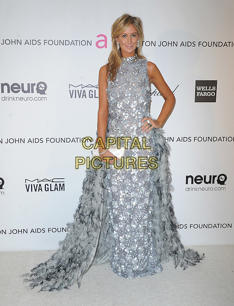 Lady Victoria Hervey.The 21st Annual Elton John AIDS Foundation Academy Awards Viewing Party held at The City of West Hollywood Park in West Hollywood, California, USA..February 24th, 2013.oscars full length dress hand on hip sleeveless high collar diamonds sequins sequined paillettes grey gray silver clutch bag feathers .CAP/DVS.©DVS/Capital Pictures.
