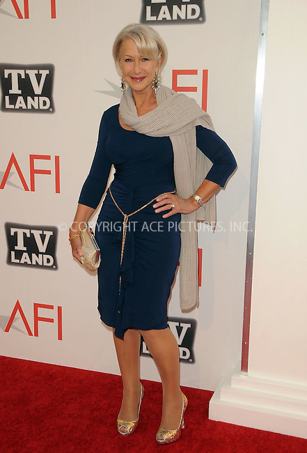 WWW.ACEPIXS.COM . . . . .  ....June 9 2011, Los Angeles....Helen Mirren arriving at the 2011 AFI Lifetime Achievement Awards honoring Morgan Freeman held at Sony Picture Studios on June 9, 2011....Please byline: PETER WEST - ACE PICTURES.... *** ***..Ace Pictures, Inc:  ..Philip Vaughan (212) 243-8787 or (646) 679 0430..e-mail: info@acepixs.com..web: http://www.acepixs.com