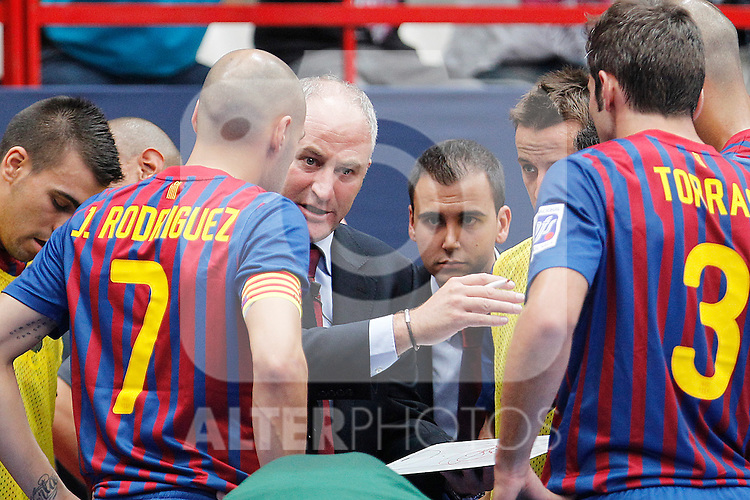 FC Barcelona Alusport's coach Marc Carmona during Spanish Futsal Supercup Semifinal match.September 3,2011. (ALTERPHOTOS/Acero)