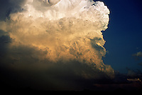 Cumulonimbus cloud of a severe thunderstorm over west Texas in May. This storm produced hail to the size of tennisballs and a tornado near Jayton Texas.