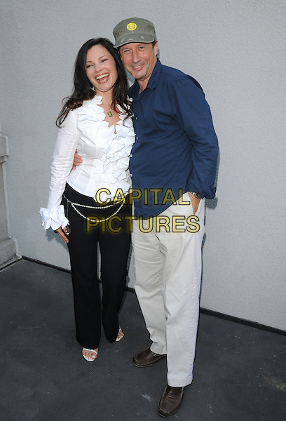 FRAN DRESCHER & CHARLES SHAUGHNESSY .attends The celebrity luncheon and auction for Cancer Schmancer Charity's one year anniversary held at Simon LA Restaurant, Hotel Sofitel in Beverly Hills, California, USA, June 21st 2008.    .full length white ruffle shirt blue cap hat black trousers.CAP/DVS.©Debbie VanStory/Capital Pictures