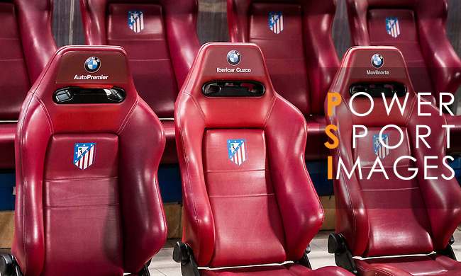 The seats on the bench during their Copa del Rey 2016-17 Quarter-final match between Atletico de Madrid and SD Eibar at the Vicente Calderón Stadium on 19 January 2017 in Madrid, Spain. Photo by Diego Gonzalez Souto / Power Sport Images