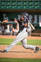 Wilfredo Rodriguez (14) of the Grand Junction Rockies at bat against the Ogden Raptors in Pioneer League action at Lindquist Field on July 5, 2015 in Ogden, Utah. Ogden defeated Grand Junction 12-2.  (Stephen Smith/Four Seam Images)