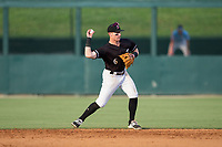 Kannapolis Intimidators second baseman Max Dutto (6) makes a throw to first base against the Hickory Crawdads in game one of a double-header at Kannapolis Intimidators Stadium on May 19, 2017 in Kannapolis, North Carolina.  The Crawdads defeated the Intimidators 5-4.  (Brian Westerholt/Four Seam Images)