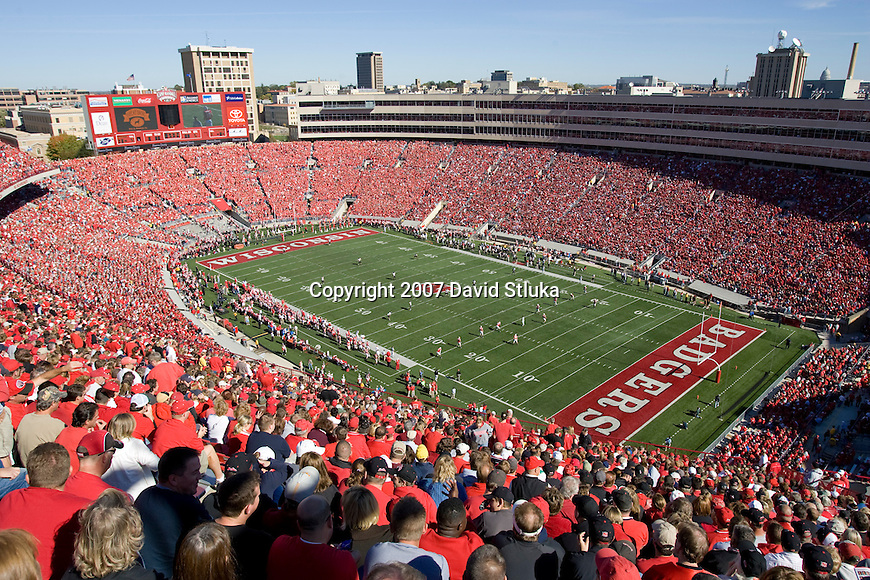 MADISON, WI - OCTOBER 20: A general view of Camp Randall Stadium during the Wisconsin Badgers game against the Northern Illinois Huskies on October 20, 2007 in Madison, Wisconsin. The Badgers beat the Huskies 44-3. (Photo by David Stluka)