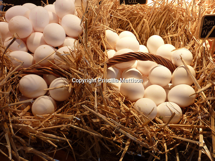 Barcelona, Spain - January 31, 2011:  Two baskets are filled with eggs.