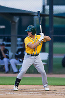 AZL Athletics second baseman Justin Jones (8) at bat against the AZL White Sox on July 20, 2017 at Camelback Ranch in Glendale, Arizona. AZL Athletics defeated the AZL White Sox 5-2. (Zachary Lucy/Four Seam Images)