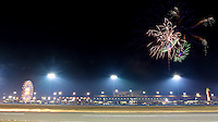 Fireworks in the nighttime sky over the Rolex 24 at Daytona, at Daytona INternational Speedway, Daytona Beach, FL (Photo by Brian Cleary/www.bcpix.com)