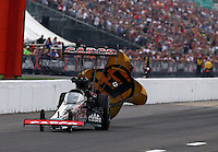 Sep 28, 2013; Madison, IL, USA; NHRA top fuel dragster driver Steve Torrence during qualifying for the Midwest Nationals at Gateway Motorsports Park. Mandatory Credit: Mark J. Rebilas-