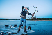 Briceson Lanphar (cq, age 14), with team Twisted Limbs from Haines City, Florida, takes a practice shot during the U.S. Open Bowfishing Championship, Saturday, May 3, 2014. <br /> <br /> Photo by Matt Nager