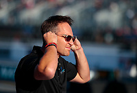 Oct 11, 2019; Concord, NC, USA; Mike Ashley, father of NHRA top fuel driver Justin Ashley (not pictured) during qualifying for the Carolina Nationals at zMax Dragway. Mandatory Credit: Mark J. Rebilas-USA TODAY Sports