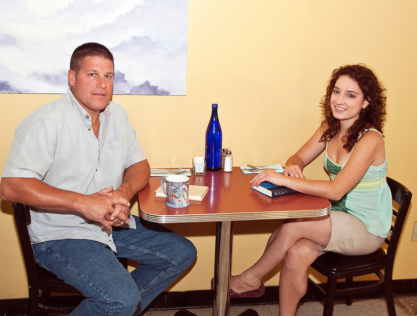 Local residents Brian Tator and Nicole Newell served as extras in The Cascades Cafe.