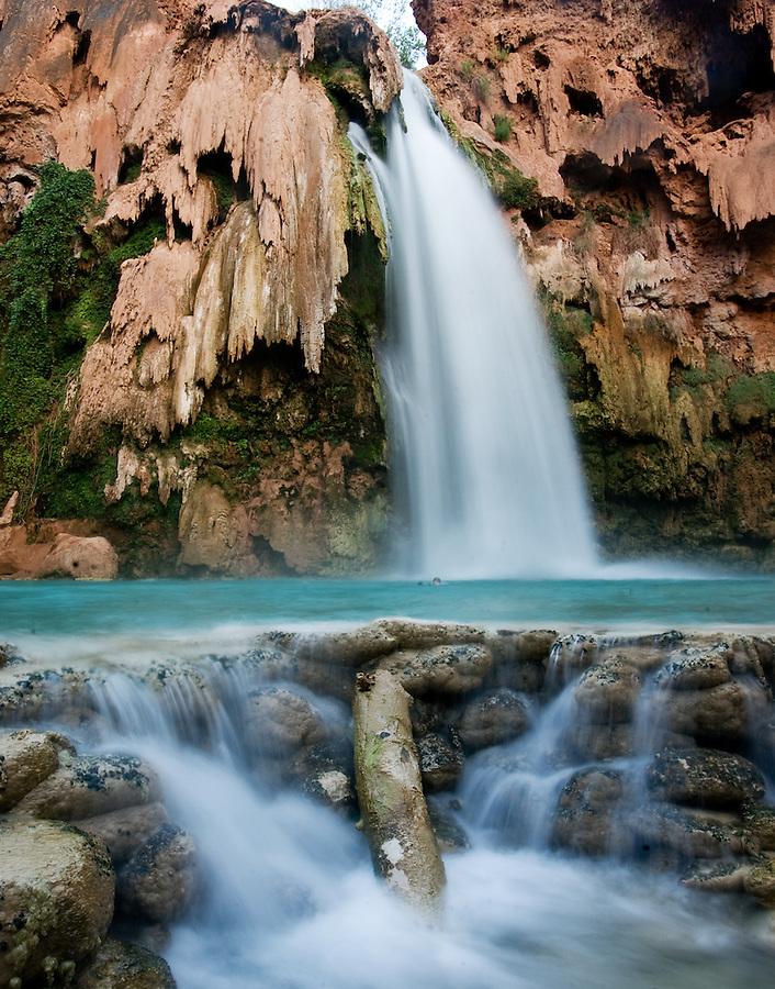 8/2/09 Havasupai-- Water flows from Havasu Falls, one of the Havasupai waterfalls. Havasu Falls was damaged in a flash flood in August of 2008.  (Pat Shannahan/ The Arizona Republic)