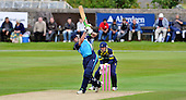 Cricket CB40 - Scottish Saltires V Hampshire Royals at Mannofield - Aberdeen - Saltire Calum MacLeod hits out in front of a decent crowd - going on to make 20 at run-a-ball in the rain affected game - Picture by Donald MacLeod - 14.08.11 - 07702 319 738 - www.donald-macleod.com