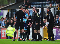 Referee Chris Sarginson attempts to calm down Blackpool manager Gary Bowyer <br /> <br /> Photographer Kevin Barnes/CameraSport<br /> <br /> The EFL Sky Bet League Two - Wycombe Wanderers v Blackpool - Saturday 11th March 2017 - Adams Park - Wycombe<br /> <br /> World Copyright &copy; 2017 CameraSport. All rights reserved. 43 Linden Ave. Countesthorpe. Leicester. England. LE8 5PG - Tel: +44 (0) 116 277 4147 - admin@camerasport.com - www.camerasport.com