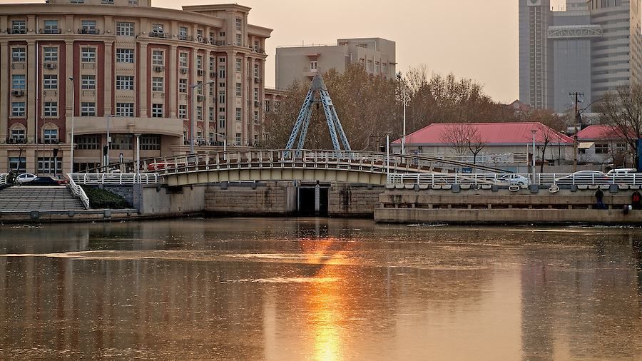 The Weitze (Weizhe) Canal Meets The Haihe River, Tianjin (Tientsin).