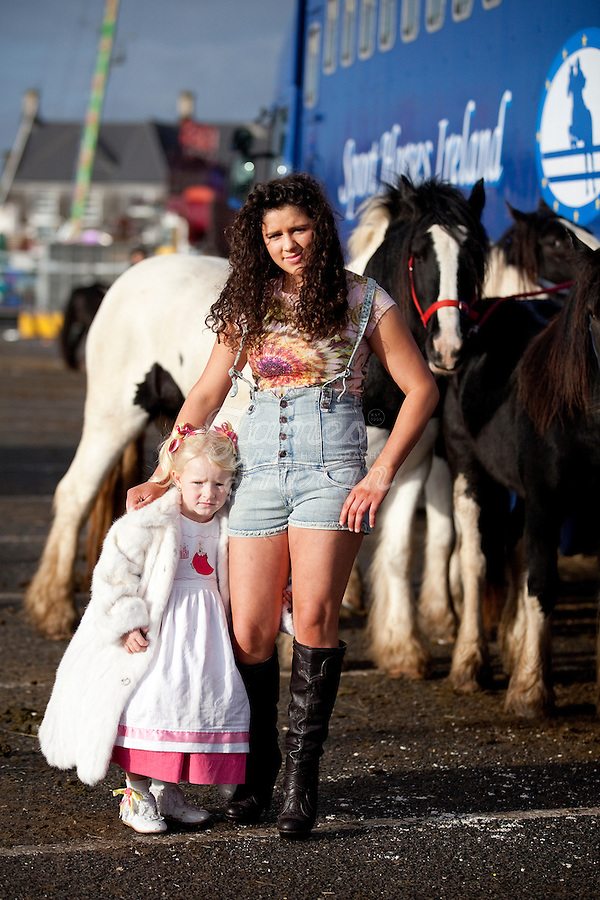 4/10/2010. Traveller girls are pictured at the Ballinasloe Horse Fair, Ballinasloe, County Galway, Ireland. Picture James Horan.