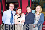 Baby Dylan Aherne, Cromane Upper, pictured with his parents Linda Hoare and Owen Aherne and godparents Aidan Griffin and Sheda Prendergast, at his christening celebrations in Club Soda, Killorglin on Sunday..