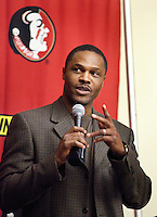 TALLAHASSEE, FLA. 2/2/11-FSUSIGN020211CH-Wide Receivers Coach Lawrence Dawsey speaks during the 2011 national signing day war party in Tallahassee...COLIN HACKLEY PHOTO