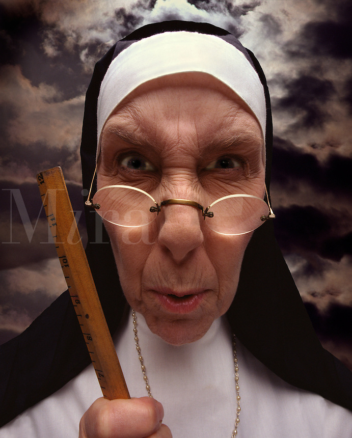 Strict Catholic nun.