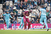 Evin Lewis (West Indies) is bowled by Chris Wakes (England) as the England players start to celebrate during England vs West Indies, ICC World Cup Cricket at the Hampshire Bowl on 14th June 2019