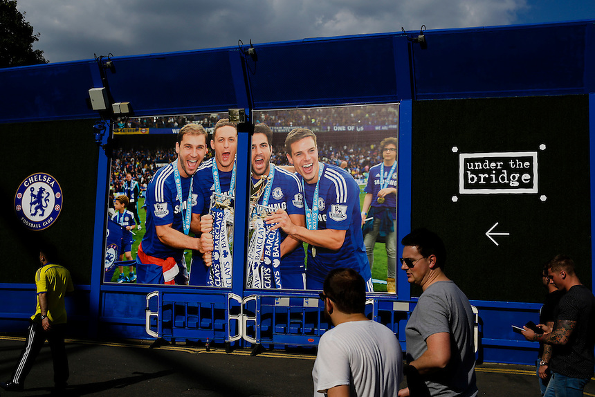 Fans arrive at Stamford Bridge, home of Chelsea, where pictures of last year's league triumph greet visitors<br /> <br /> Photographer Craig Mercer/CameraSport<br /> <br /> Football - Barclays Premiership - Chelsea v Swansea City - Saturday 8th August 2015 - Stamford Bridge - London<br /> <br /> &copy; CameraSport - 43 Linden Ave. Countesthorpe. Leicester. England. LE8 5PG - Tel: +44 (0) 116 277 4147 - admin@camerasport.com - www.camerasport.com