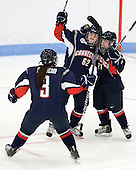 Kiana Nauheim (UConn - 3), Emily Snodgrass (UConn - 62), Kelly Horan (UConn - 21) - The Boston University Terriers defeated the visiting University of Connecticut Huskies 4-2 on Saturday, November 19, 2011, at Walter Brown Arena in Boston, Massachusetts.