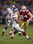 New York Giants wide receiver Victor Cruz (80) carries the ball during an NFC Championship NFL football game against the San Francisco 49ers on January 22, 2012 in San Francisco, California. The Giants won 20-17 in overtime. (AP Photo/David Stluka)