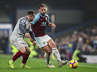 Burnley's Charlie Taylor competing with Liverpool's  Xherdan Shaqiri<br /> <br /> Photographer Andrew Kearns/CameraSport<br /> <br /> The Premier League - Burnley v Liverpool - Wednesday 5th December 2018 - Turf Moor - Burnley<br /> <br /> World Copyright &copy; 2018 CameraSport. All rights reserved. 43 Linden Ave. Countesthorpe. Leicester. England. LE8 5PG - Tel: +44 (0) 116 277 4147 - admin@camerasport.com - www.camerasport.com