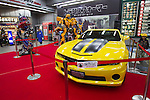 "Dec 15, 2011, Tokyo, Japan - Large scale figures of Optimus Prime (left) and Bumblebee (right) from the movie, ""Transformers Dark Side of the Moon"" are displayed at a electronics store in downtown Tokyo. The ""Transformers Dark Side of the Moon"" DVD will be released in Japan on December 16. (Photo by Christopher Jue/AFLO)"