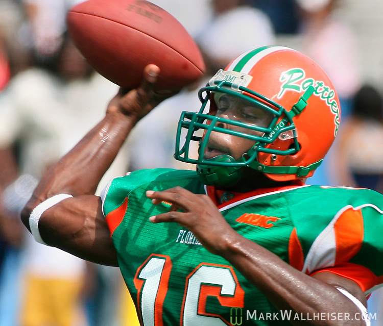 FAMU quarterback, Leon Camel throws during the first half of the Rattlers game against the Southern University Jaguars at Legion Field in Birmingham, Alabama September 1, 2007.  Camel went 7 for 21 for 94 yards and one TD in the Rattler's 27-33 loss.  (Mark Wallheiser/TallahasseeStock.com)