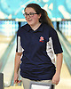 Kendall Troy of St. John the Baptist reacts after making a spare in the CHSAA girls' bowling championship against St. Dominic at Farmingdale Lanes on Thursday, Feb. 4, 2016.
