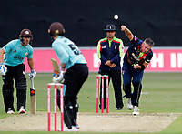Mitch Claydon bowls for kent during the Vitality Blast south group game between Kent Spitfires and Surrey at the St Lawrence ground, Canterbury, on Fri July 20, 2018