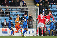 Cauley Woodrow scores Barnsley's second goal with a fine header during Gillingham vs Barnsley, Sky Bet EFL League 1 Football at The Medway Priestfield Stadium on 9th February 2019