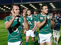 Photo: Richard Lane/Richard Lane Photography. .Barbarians v Ireland. The Gartmore Challenge. 27/05/2008. Ireland's Girvan Dempsey and Tommy Bowe applaud the fans.