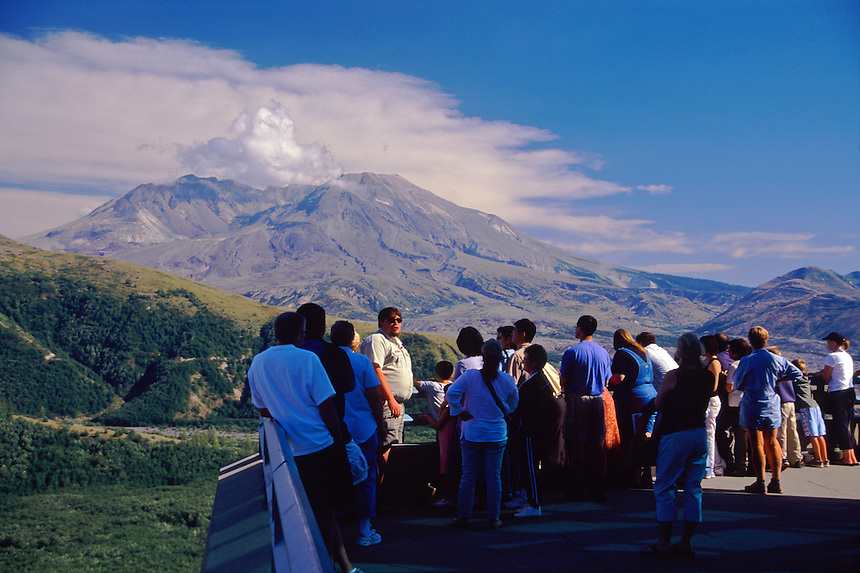 U.S. Forest Service Ranger Giving a Public Presentation at Johnston Ridge Overlooking Mt. St. Helens, Mt. St. Helens National Volcanic Monument, Washington, September 2005