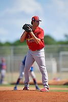 GCL Cardinals relief pitcher Chris Hunt (37) gets ready to deliver a pitch during a game against the GCL Mets on August 6, 2018 at Roger Dean Chevrolet Stadium in Jupiter, Florida.  GCL Cardinals defeated GCL Mets 6-3.  (Mike Janes/Four Seam Images)