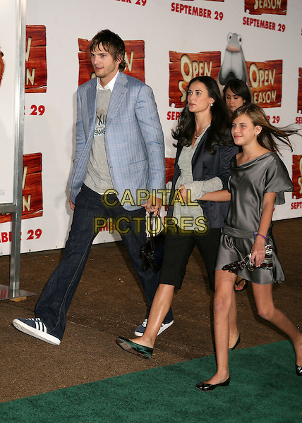 "ASHTON KUTCHER, DEMI MOORE & TALLULAH BELLE WILLIS.Los Angeles Premiere of ""Open Season"" at the Greek Theatre, Los Angeles, California, USA..September 25th, 2006.Ref: ADM/BP.full length blue suit jacket cropped black trousers grey gray satin dress holding hands mother daughter family married husband wife.www.capitalpictures.com.sales@capitalpictures.com.©Byron Purvis/AdMedia/Capital Pictures."