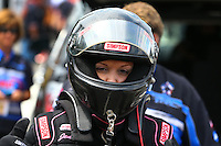 Aug. 2, 2014; Kent, WA, USA; NHRA top fuel driver Jenna Haddock during qualifying for the Northwest Nationals at Pacific Raceways. Mandatory Credit: Mark J. Rebilas-USA TODAY Sports