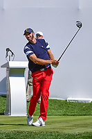 Dustin Johnson (USA) watches his tee shot on 1 during round 4 Singles of the 2017 President's Cup, Liberty National Golf Club, Jersey City, New Jersey, USA. 10/1/2017. <br /> Picture: Golffile | Ken Murray<br /> <br /> All photo usage must carry mandatory copyright credit (&copy; Golffile | Ken Murray)
