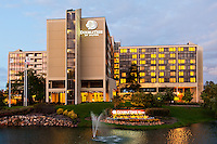 The DoubleTree by Hilton Hotel in Oak Brook, IL at dusk.