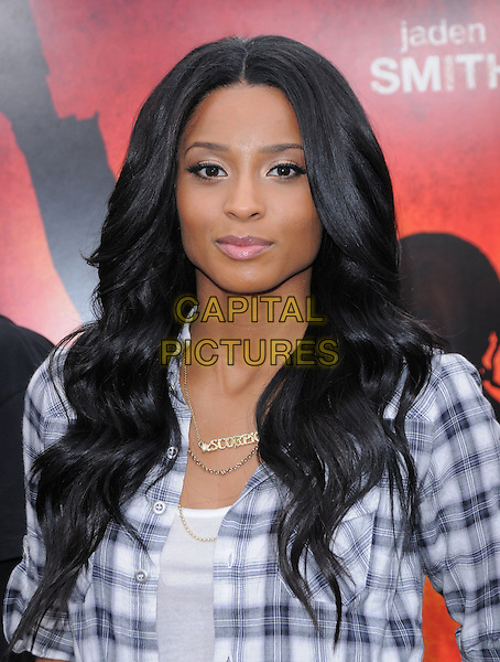 CIARA (CIARA PRINCESS HARRIS).L.A. Premiere of The Karate Kid held at The Mann Village Theatre in Westwood, California, USA..June 7th, 2010 .half length plaid shirt checked check grey gray.CAP/RKE/DVS.©DVS/RockinExposures/Capital Pictures.
