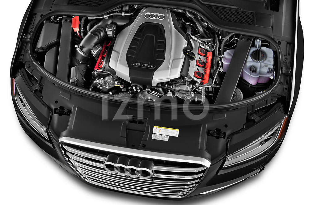 Car stock 2015 Audi A8 3.0T LWB quattro tiptronic 4 Door Sedan engine high angle detail view